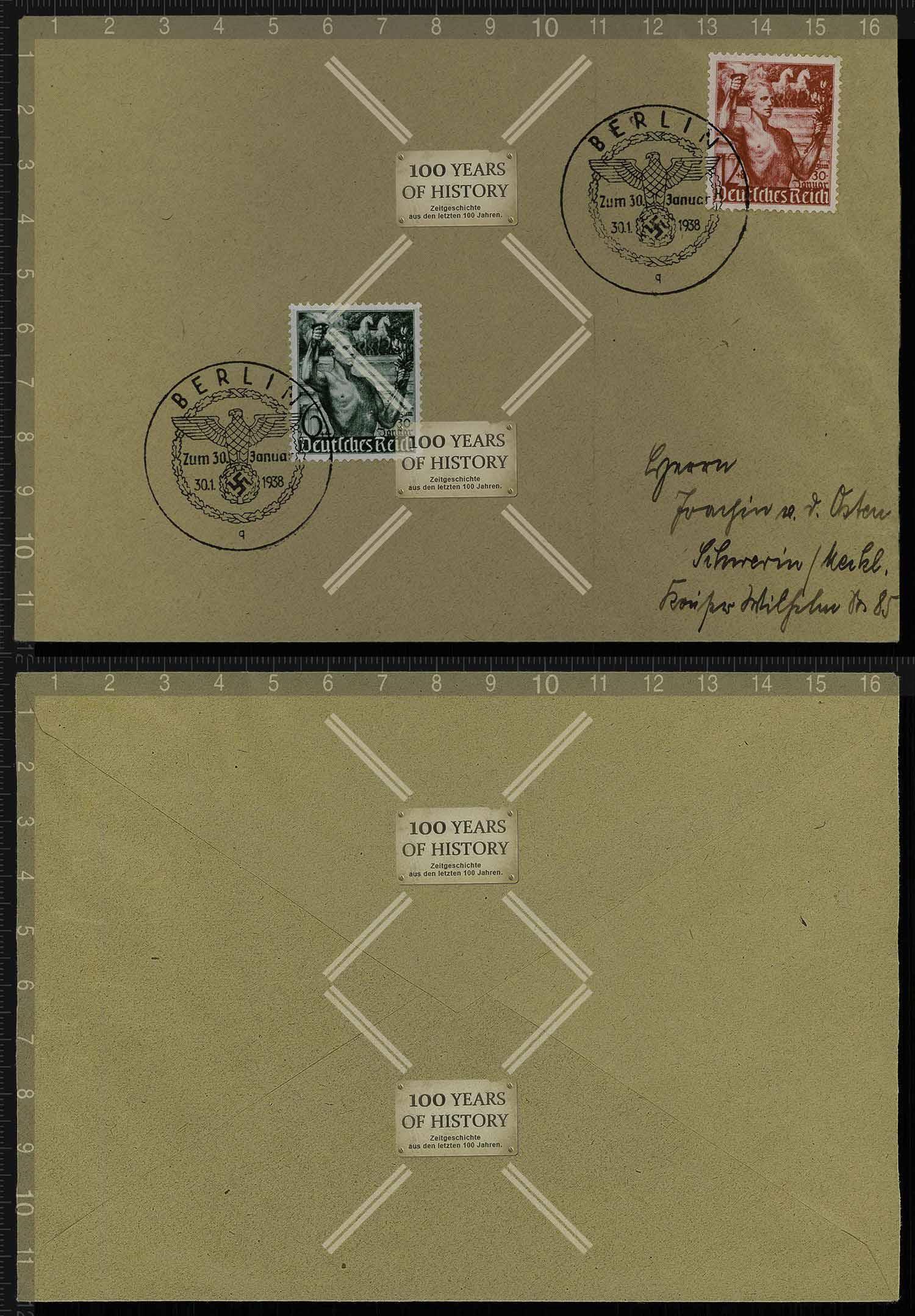 Orig Brief Briefmarken Stempel Deutsches Reich 1938 Nach Schwerin