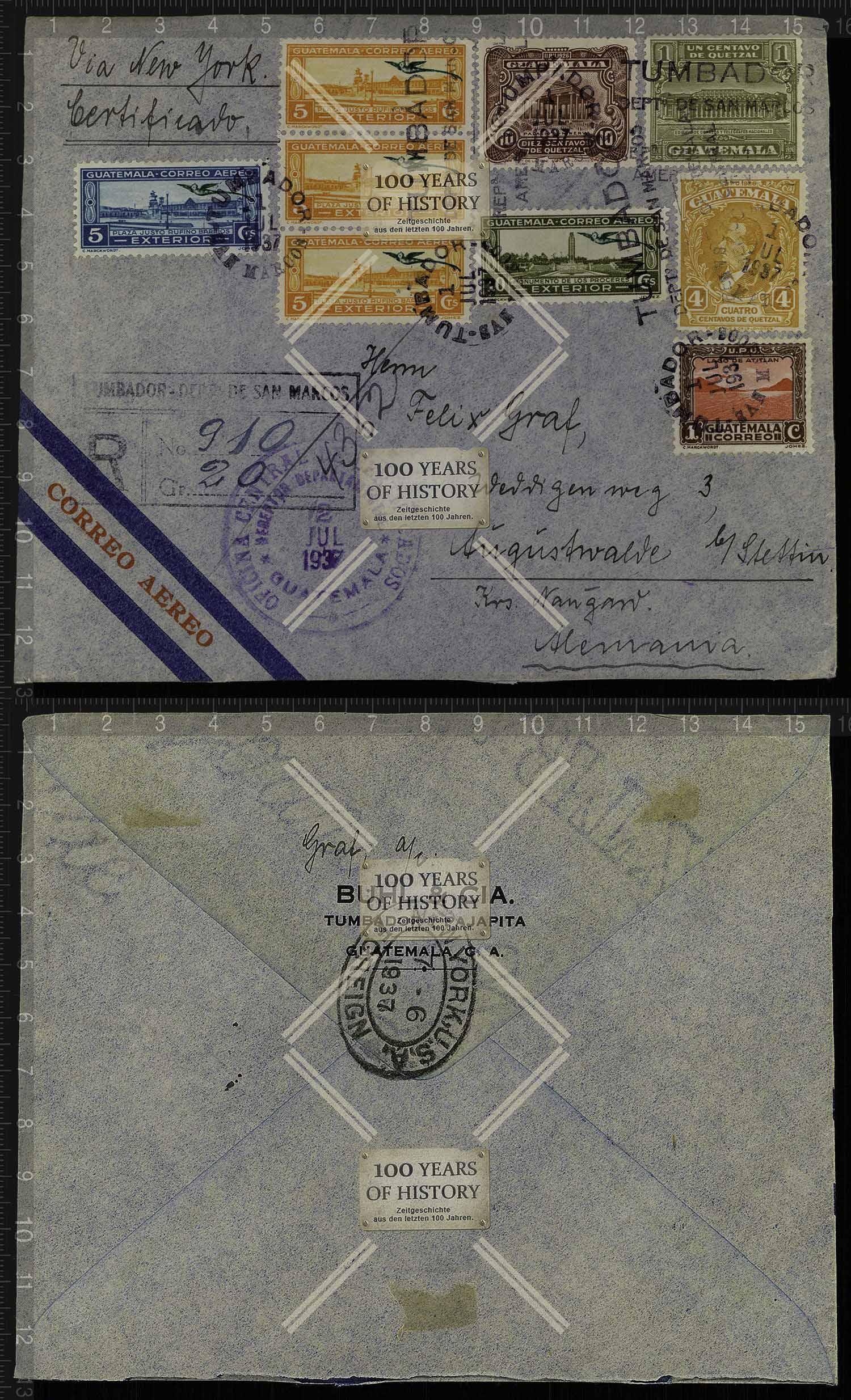 Orig Guatemala Brief Briefmarken Stempel 1937 Nach Augustwalde B